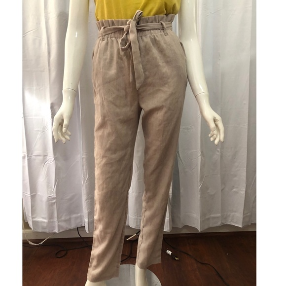 Lucca Couture Paperbag Beige Trousers